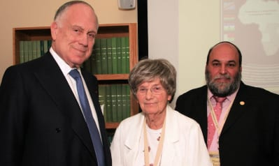 Ronald S. Lauder with Ann Harris, chair of the African Jewish Congress, and Rabbi Moshe Silberhaft, CEO of the AJC