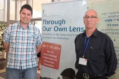 David de Groot and Greg Keith at the Yad Vashem Educators' Conference. (photo by Isaac Harari