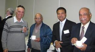 Bombay-born Ben Cohen [l] meets members of Melbourne's Indian community