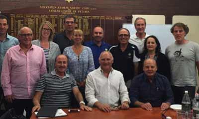 Front Row: (Left to Right) Tom Goldman OAM (Chair of the Board of Governors), Barry Smorgon OAM (President MAI), Alan Shear (President Maccabi, WA) Back Row: (Left to Right) Joe Dorfman (President Maccabi Victoria), Louis Platus OAM (Member of the Board of Governors), Mikki Silverman (Board Member MAI), Sydney Kahn(Board Member MAI), Lauren Ehrlich (Board Member MAI), Danny Hochberg(President Maccabi NSW), Harry Procel OAM(Board Member MAI), Philip Sheezel(Board Member MAI), Celene Descy(President Maccabi, QLD), Jeff Sher(Board Member MAI)