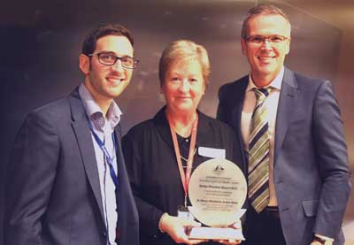 Dr Alasdair MacDonald, Montefiore's General Manager of Business Innovation and Quality with Tracey Clerke, State Director NSW/ACT, Australian Aged Care Quality Agency and Yoni Hersh, Senior Customer Assurance Co-ordinator