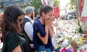 A grief-stricken Rada Johnson, Tori's sister  Photo: Henry Benjamin/J-Wire