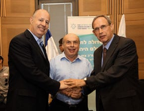 Chairman of The Jewish Agency for Israel, Natan Sharansky with the co-Chairmen of  the Lobby for Strengthening the Jewish People, MK Dr Nachman Shai and MK Tzachi Hanegbi at the launch of the lobby (Photo credit: Sasson Tiram)
