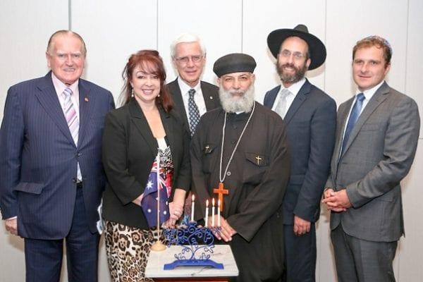 The Rev Fred Nile, Lynda Ben-Menashe, Rev John Barr, Fr Shenuda Mansour, Rabbi Kalman Kastel, Jeremy SPinak