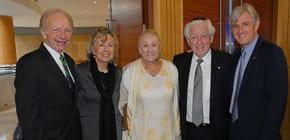 Joe and Mrs Lieberman, Shirley Lowy, Frank Lowt and Steven Lowy